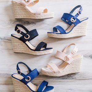 LC Lauren Conrad navy sandal wedges